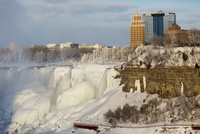 Frozen American Falls and River from Canadian side, Niagara Falls, Ontario, Canada