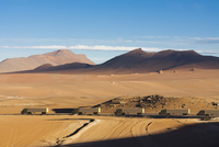 Digitally Generated Image of Convoy of Freight Trucks Crossing the Atacama Desert, Chile