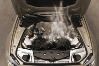 Digitally Generated Image of Overheated Car Engine