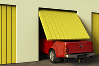 Illustration of conceptual image representing lack of space and need of growth with a truck in a small garage.