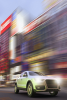 Digitally Generated Image of Luxury SUV in Motion, Tokyo, Japan