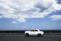 White Car on Highway by the Sea, Havana, Cuba