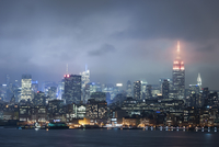 Empire State Building and Midtown at Night during a Storm, Manhattan, New York City, New York, USA