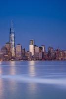 City Skyline Illuminated at Dusk with One World Trade Centre, Lower Manhattan, New York City, New York, USA