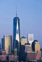 City Skyline at Sunset with One World Trade Centre, Lower Manhattan, New York City, New York, USA