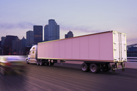 Illustration of freight truck in motion on highway, Pittsburgh, Pensylvania, USA