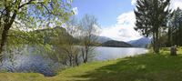 Panoramic, scenic view of Lake Altaussee and mountains in spring, Styria, Austria