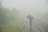 View from Train Window of Man Walking on Tracks, Carrying Green Leaves in Fog, on route from Ella to Kandy, Sri Lanka