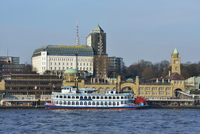 View of Landing Bridges with Steamboat Cruise on Elbe River, Hamburg, Germany