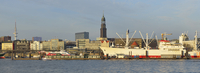 View of Harbour and St Michaelis Church in Background, Hamburg, Germany
