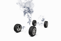 Illustration of conceptual image of a car turned into smoke, studio shot on white background
