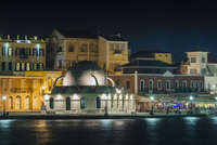 View of the Turkish Mosque Yiali Tzami at Night, Venetian Harbour, Chania, Crete, Greece.