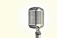 Close-up illustration of vintage microphone, studio shot on white background