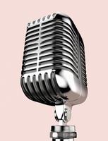 Close-up illustration of vintage microphone, studio shot on pink background