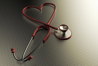 Illustration of heart-shaped Stethoscope, studio shot on grey background