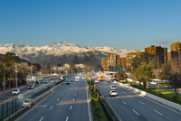 Overview of expressway in Las Condes district with Los Andes mountain range in the background, Santiago de Chile, Chile