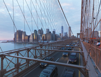 View of Lower Manhattan from Brooklyn Bridge at sunset in winter, New York City, New York, USA