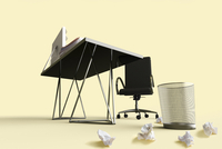 Digital Illustration of Desk, Chair and Waste Basket with Crumpled Papers on Floor