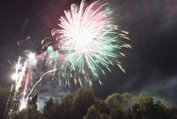 Fireworks at Public Festival at Night, Neumarkt in der Oberpfalz, Upper Palatinate, Bavaria, Germany