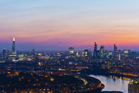 Overview of Skyline and River Thames at Sunset, London, England