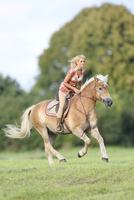 Young woman riding a Haflinger horse in summer, Upper Palatinate, Bavaria, Germany