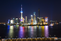 Skyline at Night with Jin Mao, Oriental Pearl and Shanghai Towers and Shanghai World Financial Center, Lujiazui, Pudong, Shangha