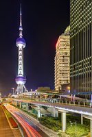 Oriental Pearl Tower Illuminated at Night, Lujiazui, Pudong, Shanghai, China