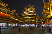Yu Garden and Bazar illuminated at Night, Old City of Shanghai, China