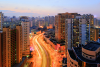 High angle view of road and highrise buildings in the city at dusk, Shanghai, Shanghai Shi, Zhonghua, China