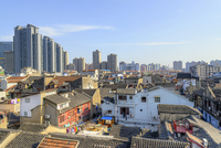 Old City near Yuyuan Garden and Bazar, high angle view of a typical shikumen (residential block formed by many little lanes, whi