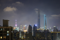 Lujiazui financial district with the Oriental Pearl Tower, Shanghai World Financial Centre and Shanghai Tower at night, Pudong,