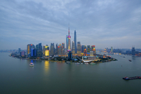 Lujiazui financial district with the Oriental Pearl Tower, Jinmao Tower, Shanghai World Financial Centre and Shanghai Tower, Pud