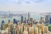 View of Skyline and Victoria Harbour from Victoria Peak, Hong Kong Island, Hong Kong, China