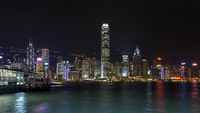 Victoria Harbour and Skyline with Two IFC Tower and Star Ferry at Night, Tsim Sha Tsui, Kowloon, Hong Kong, China