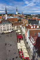 Overview of the Town Hall Square, Tallinn, Estonia