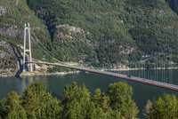 Hardanger Bridge a suspension bridge across the Hardangerfjorden in Hordaland county, Norway