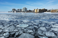 City Skyline from Ferry with Path through Broken Ice on Lake Ontario, Kingston, Ontario, Canada