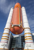 Close-up of rocket outside the Kennedy Space Center, Cape Canaveral, Florida, USA