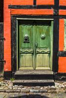 Street scene with close-up of door, Aeroskobing, Aero, Denmark