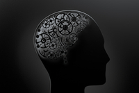 Illustration of a conceptual human brain made of cogwheels, on black background
