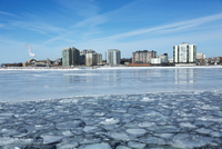 City Skyline from Ferry with Path through Broken Ice on Lake Ontario, Kingston, Ontario, Canada