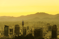 Historic Downtown and Civic Center at Sunset, Santiago de Chile, Chile