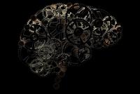 Illustration of conceptual human brain made of cogwheels, on black background