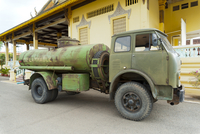 Old diesel tanker in front of the Royal Palace, Phnom Penh, Cambodia, Indochina, Southeast Asia, Asia