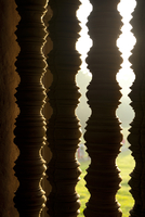 Close-up of decorative posts at sunrise, Angkor Wat Temple complex, UNESCO World Heritage Site, Angkor, Siem Reap, Cambodia, Ind