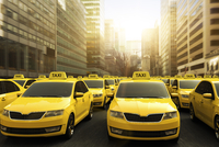 Digital Illustration of Traffic Jam of Yellow Taxis on Strike, New York City, New York, USA