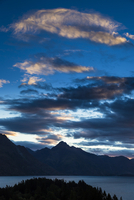 Silhouette of mountains at dusk, Queenstown, Otago, South Island, New Zealand