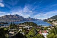 Scenic overview of Queenstown, Otago, South Island, New Zealand