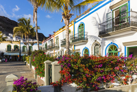 White washed houses and gardens at the picturesque resort and fishing village of Puerto de Mogan, Gran Canaria, Las Palmas, Cana