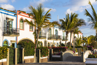 White washed houses and palm trees at the picturesque resort and fishing village of Puerto de Mogan, Gran Canaria, Las Palmas, C
